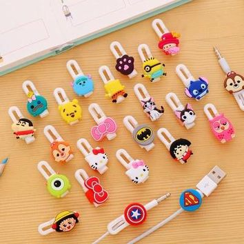 2Unit Selectable Cartoon USB Cable Earphone Protector Headphones Line Saver For Mobile Phone Charging Line Data Cable Protection