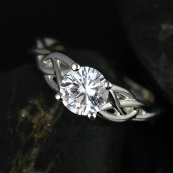 Cassidy 6mm 14kt White Gold Round White Sapphire Celtic Knot Engagement Ring (Other Metals and Stone Options Available)