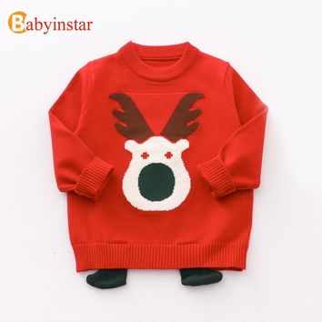 Babyinstar Baby Girls Sweaters Children's Christmas Elk Sweater Boys Knitted Full Sleeve Clothes Kids Sweater For Girls