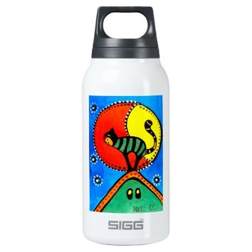 Cat and Moon Whimsical Cat Design Insulated Water Bottle