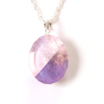 Rose Quartz Ametrine (Amethyst, Citrine) Faceted Pendant Sterling Silver Necklace