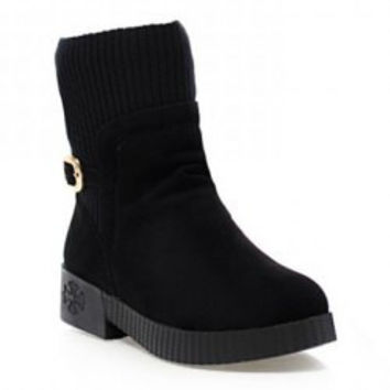 Retro Women's Sweater Boots With Buckle and Suede Design