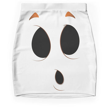 Ghost Face Skirt, Halloween  Pencil Skirt,Black White Ghost Skirt, Holidays Costume, Boo Ghost