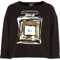 River Island Girls black sequin perfume bottle sweatshirt