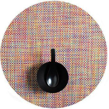 CHILEWICH Basketweave Round  Placemat S/4 | Crayon