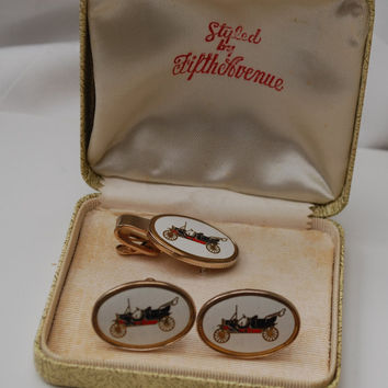 Vintage Antique Car Cufflinks and Tie Clip in Fifth Avenue box