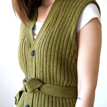 60s Sweater Vest. Vintage Olive Green Belted Sweater. 1960s Button Front Cardigan. Small.