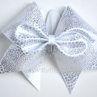 "3"" Wide Luxury Cheer Bow -White and Silver Metallic Print"