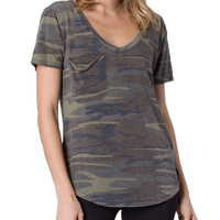 Z Supply The Pocket Tee Camo Green Top