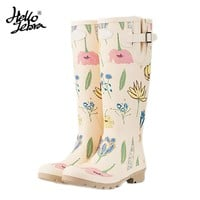 Hellozebra Women Tall Rain Boots Ladies Low Hoof Heels Waterproof  Graffiti Buckle High Nubuck Round Toe Rainboots Fashion