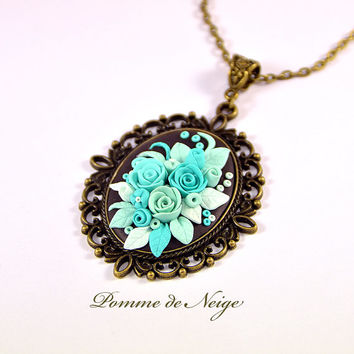 Turquoise Floral Pendant (options) Mint Rose Polymer clay jewelry Necklace Romantic Jewelry Floral Jewelry Turquoise Pendant Applique