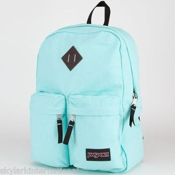 TB84 JANSPORT Hoffman Backpack Bookbag Bag Mint Blue Aqua  3 Front Zipper Pocket