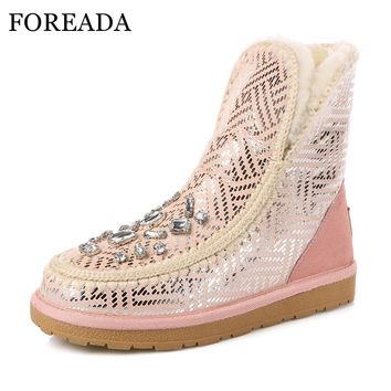FOREADA Natural Leather Winter Snow Boots Girls Women Ankle Boots Crystal Glitter Lambs Wool Boots Platform Flats Plush Shoes