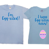 Expecting Parents To Be Matching Couples T Shirt Pregnancy Couple Maternity Reveal Baby Announcement Easter Outfit His And Hers SA1042-1043