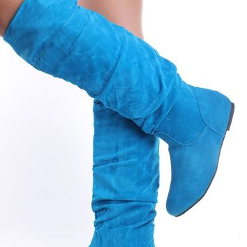 TURQUOISE FAUX SUEDE FLAT KNEE HIGH PULL ON BOOTS