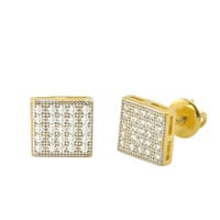 Sterling Silver Screw Back Earrings Yellow Gold Plated Pave CZ Studs 7mm Square