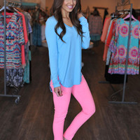 V Neck Tunic- Sky Blue