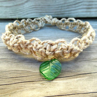 Macrame Necklace Hemp Double Square Knot Leaf Pendant Choker