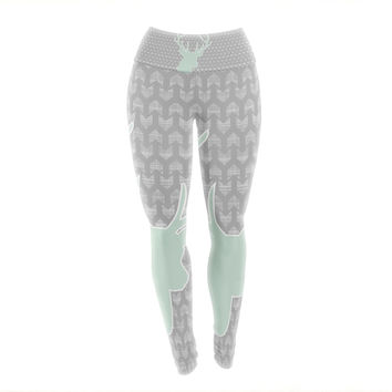 "Pellerina Design ""Winter Deer"" Gray Green Yoga Leggings"