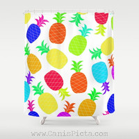 "Pineapple Fruit Shower Curtain 71"" x 74"" Decorative Ananas Bright Hot Pink Neon Orange Green Yellow Purple Blue Teal Shades Sunglasses Fun"