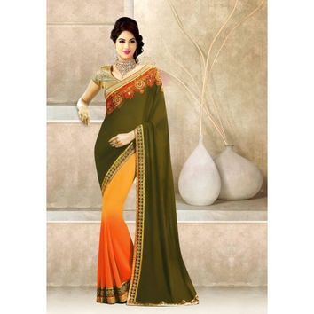 Georgette & Jacquard Border Work Multicolour Half & Half Saree - 105