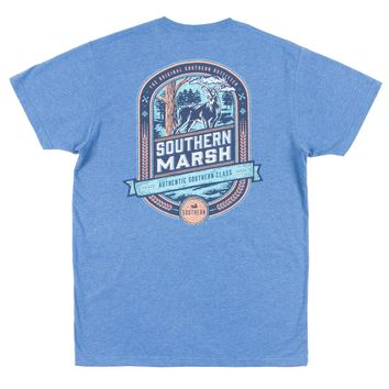 Southern Marsh, Genuine Collection - Deer Hunting Tee, Washed Oxford Blue