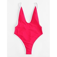 Contrast Piping Swimsuit