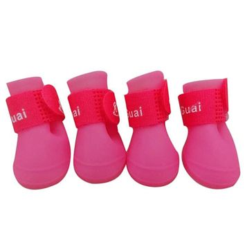 1Set 8 color Dog Candy Colors Boots Waterproof Rubber Pet Puppy doggy Rain Shoes Booties for small dog sneakers design 2017 hot