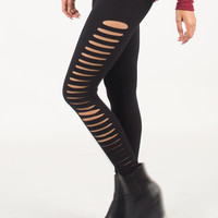 Side Ripped Leggings - Black /