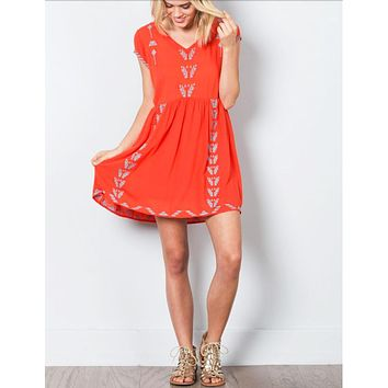 Fiesta Red Embroidered Dress - RESORT COLLECTION