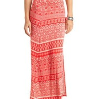 Tribal Print Single Slit Maxi Skirt by Charlotte Russe - Hibiscus
