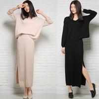 Long Sleeve Top with Side-Slit Skirt Set