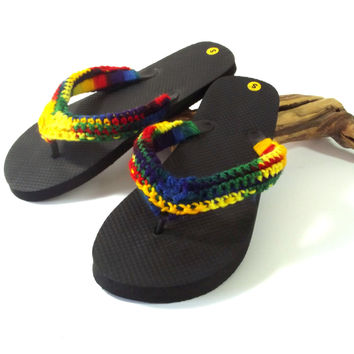 Summer Flip Flop Sandals - Crochet Thong Sandals - Adult Flip Flop Sandals - Unisex Summer Shoes - Rainbow Thong Sandals