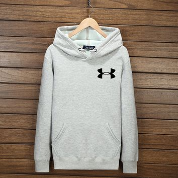 Under Armour Women Men Fashion Print Logo Cotton Long Sleeve Sweater Pullover Hoodie Sweatshirt Grey I-YSSA-Z