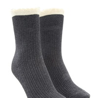 Lace-Trimmed Crew Socks
