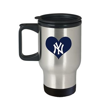 New York Baseball Navy Blue Heart Love Travel Mug