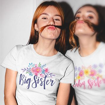 Big Sister - Watercolor Flowers Ladies' Boyfriend T-Shirt