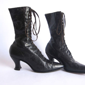 Victorian Boots by Polly Preston - Womens Lace Up Boots Size 6 / 6.5