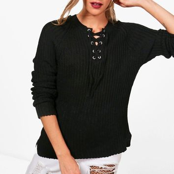Erin Ribbed Lace Up Front Jumper | Boohoo