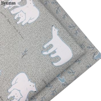 Syunss New Cartoon Bear Print Twill Cotton Fabric DIY Handmade Sewing Patchwork Baby Cloth Bedding Textile Quilting Tilda Tissus