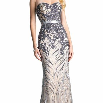 Cinderella Divine - Strapless Sequined Sweetheart Sheath Prom Dress