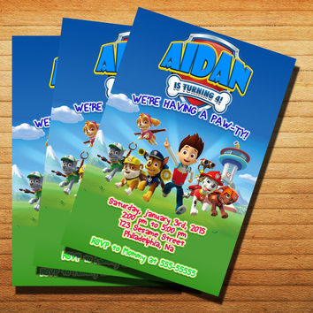 Paw Patrol Inspired Birthday Invitation Cards 4x6, 5x7, Customized