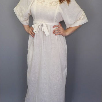 Vintage 60s 70s White Crochet Lace Maxi Dress Wedding Dress Boho Summer Sun dress Romantic Indie Chick Edwardian Cotton Muslin Folk Hippie