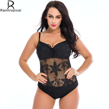 Black Mesh Crocket One Piece Swimwear Plus Size