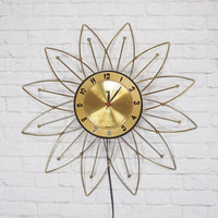 Mid Century LUX Starburst Clock | Vintage Atomic Wall Clock Gold and Black