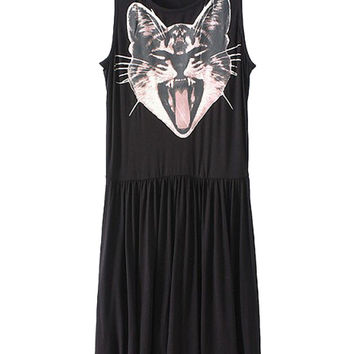 Black Cat Print Sleeveless Dress with Pleat Detail