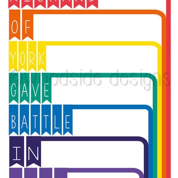 "Rainbow Typography Print  - ""Richard of York Gave Battle in Vain"" Digital Download, Classroom Poster, Spectrum, kids Wall Art"