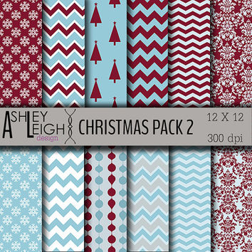 Christmas Digital Paper Pack 2- 12 Sheets - 300 dpi 12 x 12 JPG - Commercial Use - Snowflake Tree Ornament Blue Burgandy - INSTANT DOWNLOAD
