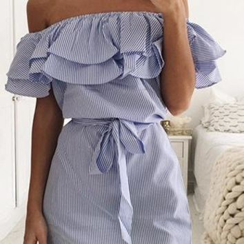Treasure Trove Short Sleeve Vertical Stripe Ruffle Off The Shoulder Tie Waist Sheath Mini Dress - 2 Colors Available