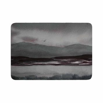 "Cyndi Steen ""Gray Landscape "" Gray Watercolor Painting Memory Foam Bath Mat"